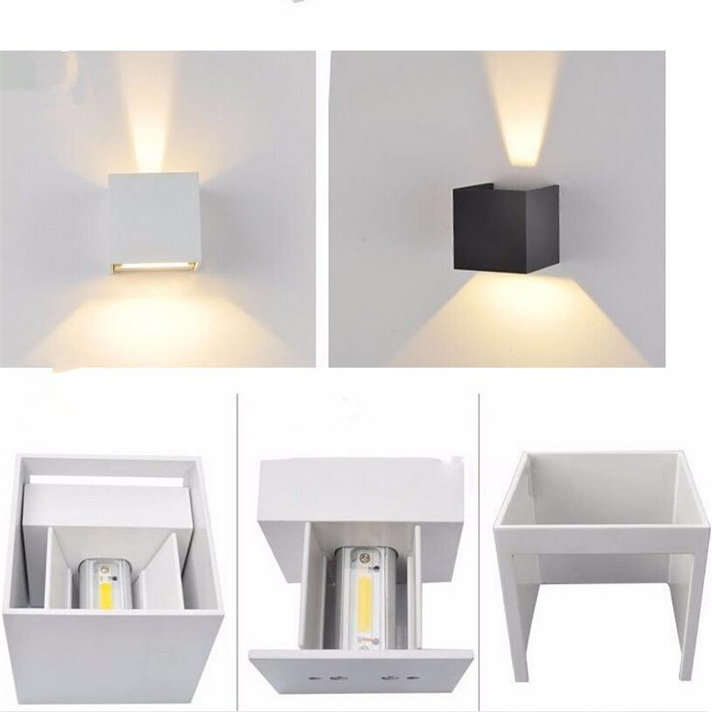Wall lamps 6w led up down lights led outdoor cube wall sconce wall lamps 6w led up down lights led outdoor cube wall sconce waterproof led wall light 2pcs cob led chips wall mounted lamp in wall lamps from lights amipublicfo Image collections