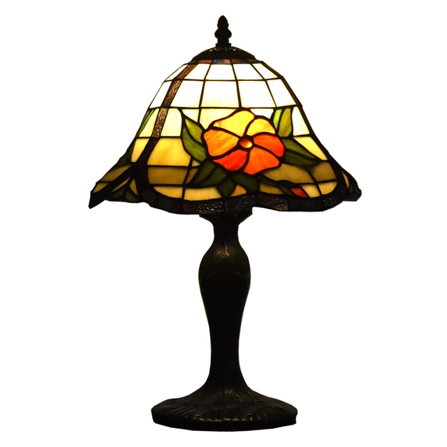 Tiffany Table Lamps 12 Inches Accent Floral Vintage Antique Stained