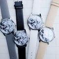 2016 Nueva Textura de Mármol Relojes de Marcación, Personalizada Suave Mármol Patrón Femenino de La Correa de Cuero Reloj de Cuarzo Ocasional Reloj de Los Estudiantes