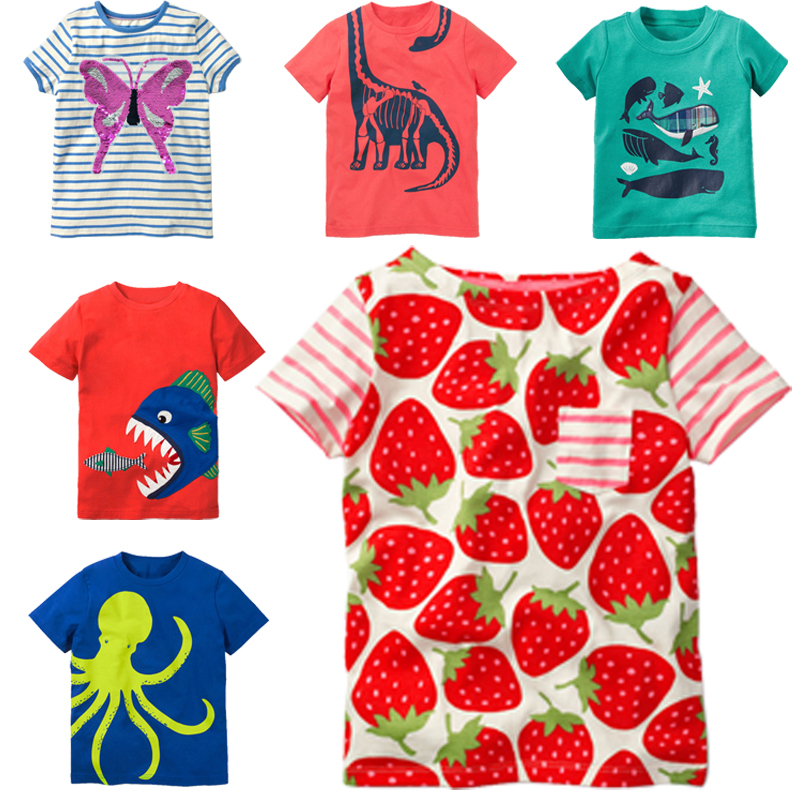 Summer Sweet Baby Girls T-Shirt 100% Cotton Kid Tops Strawberry Print Newborn Fashion Tees Bebes Clothing 2018 Brand Hot Sale