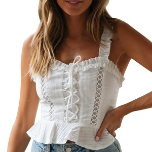 Fashion Women White Summer Crop Top Holiday Lace Ruffles Tanks Tops Vest Casual sexy Crop Top haut femme streetwear cropped 2020