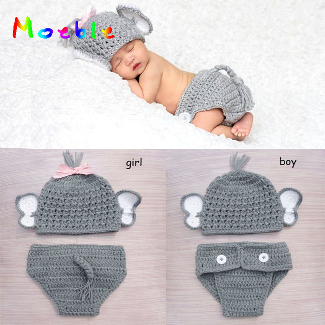 Crochet Baby Elephant Costume Knitted Baby Hat And Diaper Pants Set