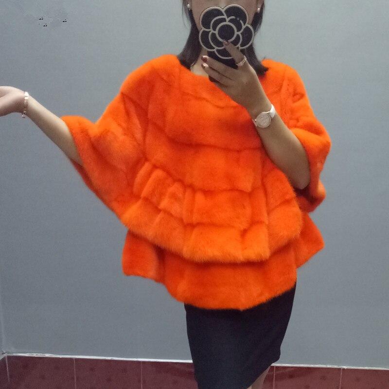 Fourrure de vison manteau de fourrure courte section vison manteau col rond col chauve-souris chemise femelle 17 automne et hiver nouvelle vison châle