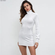 9b3dd1bef75 BornToGirl Femmes Slim Taille Haute Sexy robe Courte Automne hiver À Manches  Longues Noir Blanc robe Pull robe hiver 2018 femme