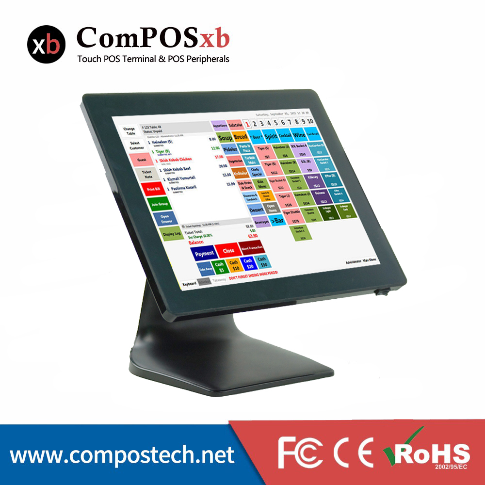 Black Color 15 Inch POS system For Small Business Restaurant All In One PC POS System