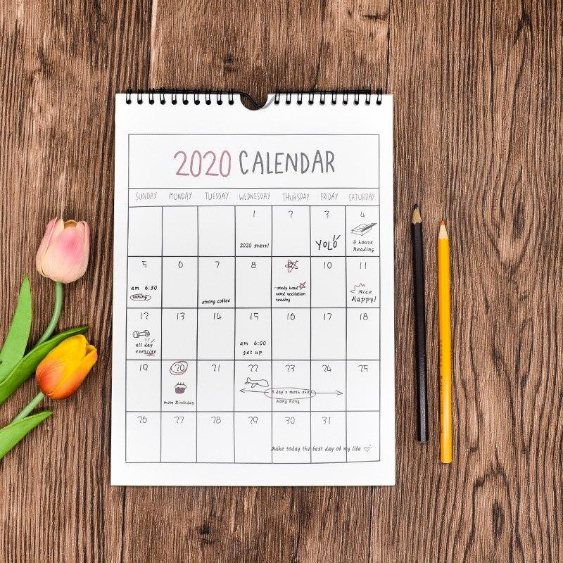 2020 Simple Wall Calendar Hand Tearing Calendar Daily Schedule Planner Agenda Organizer 2019.09~2020.12