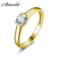 AINUOSHI 10 k Sólido Oro Amarillo Anillos de Boda Tamaño 4-10 Solitario Diamante Simulado Anillos Jewellry Mujeres Ronda Corte Anillo de bodas