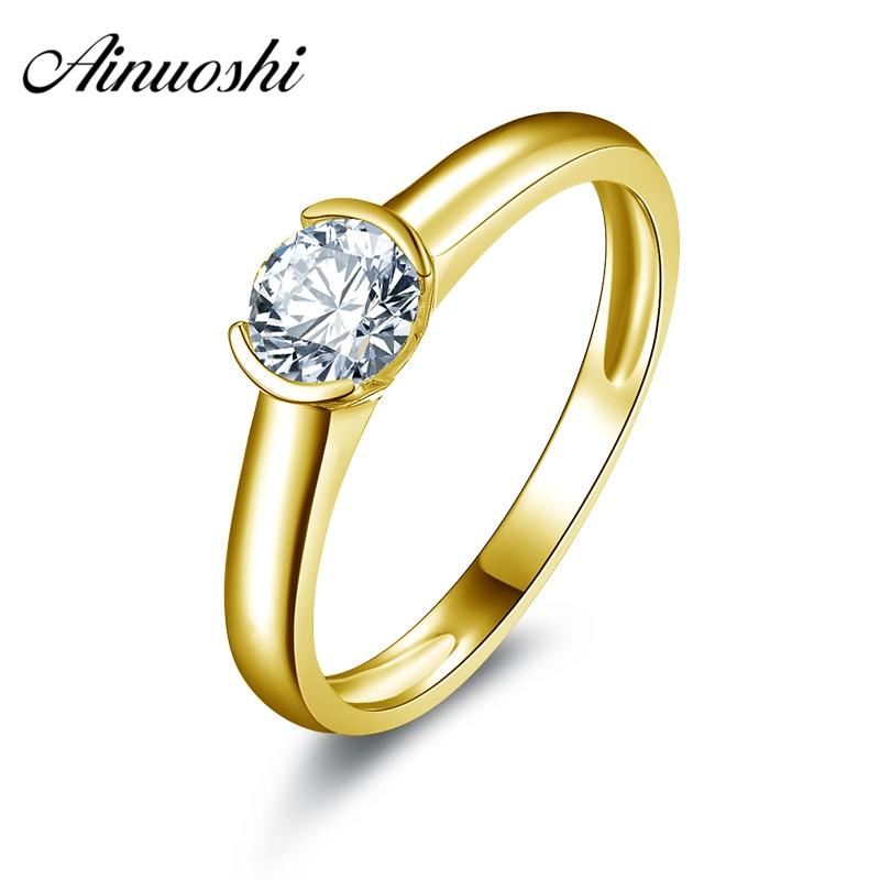 AINUOSHI 10 k Solide Jaune Or De Mariage Anneaux Taille 4-10 Solitaire Simulé Diamant Anillos Bijoux Round Cut Femmes anneau de mariage