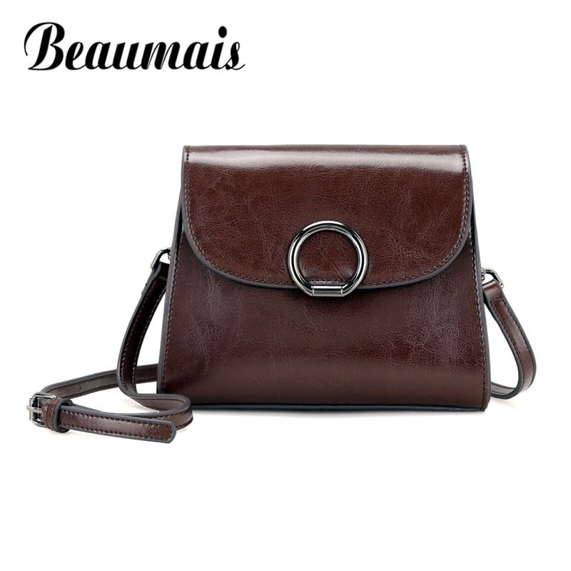 Beaumais Genuine Leather Flap Fashion Cow Leather Women Shoulder Bags Oil Wax Soft Messenger Bags High Quality Female Bag DF0157 realer genuine leather shoulder bag female with tassel women messenger bags high quality cow fashion mini shape
