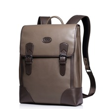 New Men's Contast Color Genuine Full Grain Leather Fashion Travel Backpack Casual Trend Rucksack School Book Bag