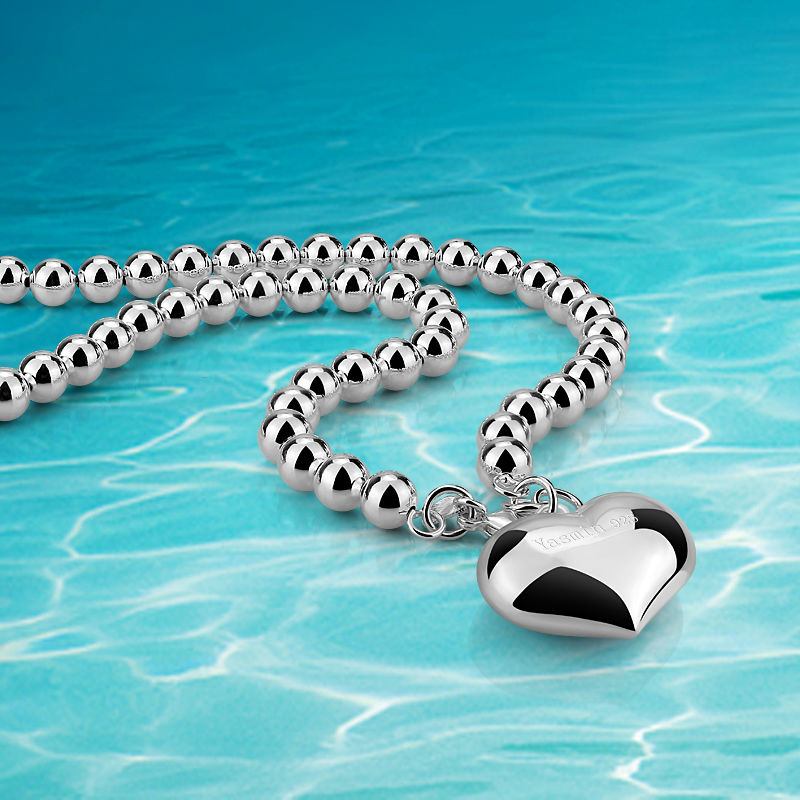 Beads Necklace Women Lady Silver Beads Chain Sterling Silver Beads Necklace For Women Heart Pendant