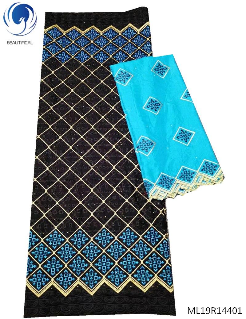 Beau tissu de dentelle de voile suisse noir et bleu tissu de dentelle de mariée dubai lacets de voile suisse 7 yard/set matériel de tissu ML19R144