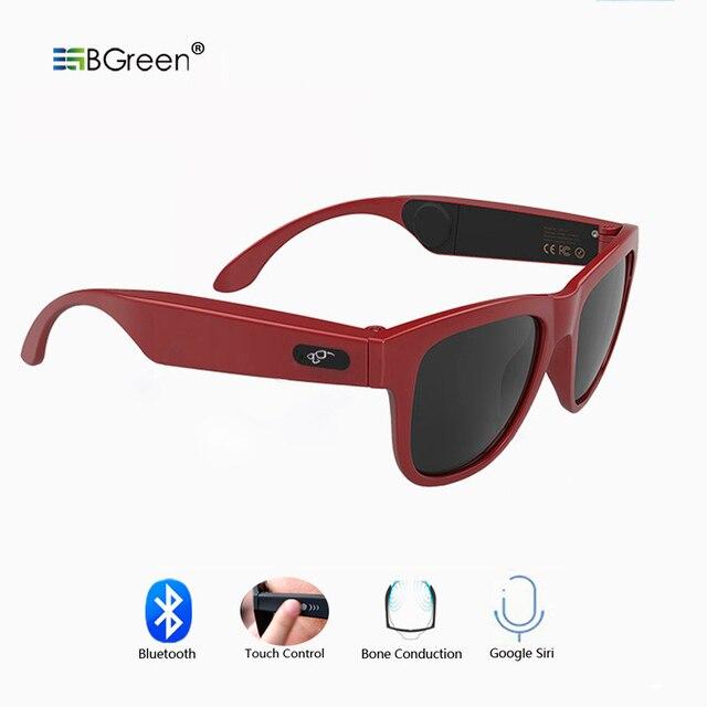 BGreen Bone Conduction Bluetooth Smart Music Sunglasses Headphone Wireless Sports Headphone Sport Earphone Stereo Headset
