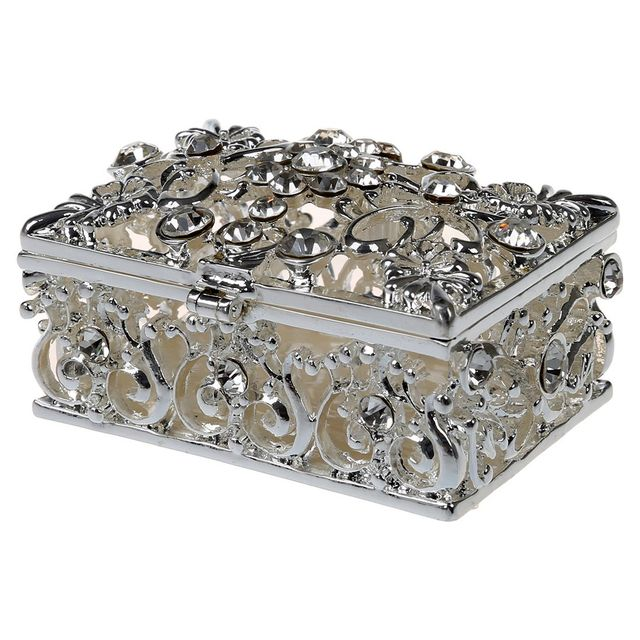 Marvelous Hot Small Rhinestone Embellished Hollow Jewelry Storage Gift Trinket Box  Silver