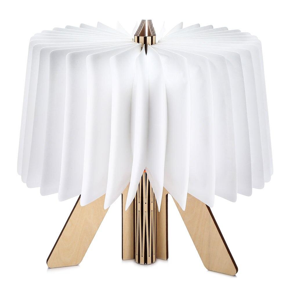 Lightme USB Rechargeable LED Wooden Folding Book R shape Light Desk Night Lamp for Living Room Christmas Decor