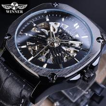 Winner Skeleton Square Mens Mechanical Watch Automatic Black Case Genuine Leather Watches Clock Relogio Hodinky Erkek Kol Saati