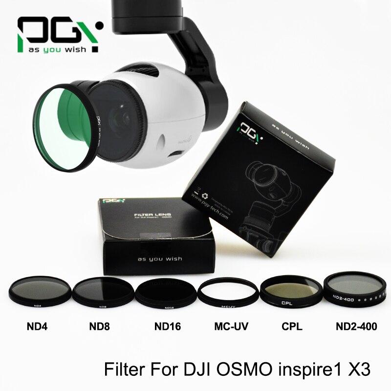 bilder für Objektiv Filter für DJI OSMO X3 inspire1 Professionellen Erweiterte kameraausrichtung ND2-400 ND4 ND8 ND16 CPL MC-UV drone teile zubehör