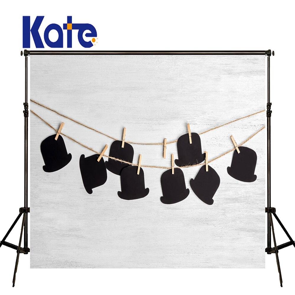 KATE 10ft arrière-plan de photographie pour enfants noir chapeau garçon toile de fond blanc bois décors muraux bonne fête des pères Photo