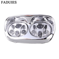 FADUIES Chrome set Motorcycle Road Glide LED Headlight Motorcycle accessorie High/Low Beam Double Headlamp For Harley Road Glide
