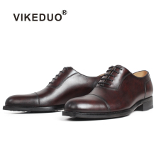 VIKEDUO 2019 New Spring Oxford Dress Shoes For Men Cow Skin Genuine Leather Male Brown Patina Wedding Office Mans Footwear