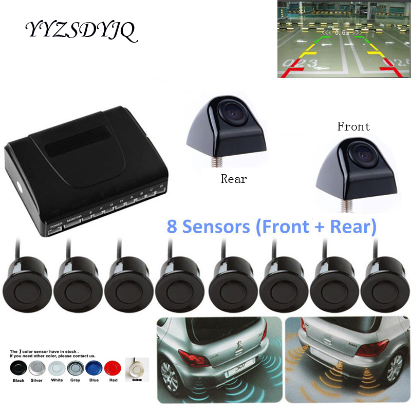 цена Car Parking Sensor Auto Reverse Backup Radar Detector System 22mm Original Sensors 8 Redars BIBI Alarm Sound Parktronic Video