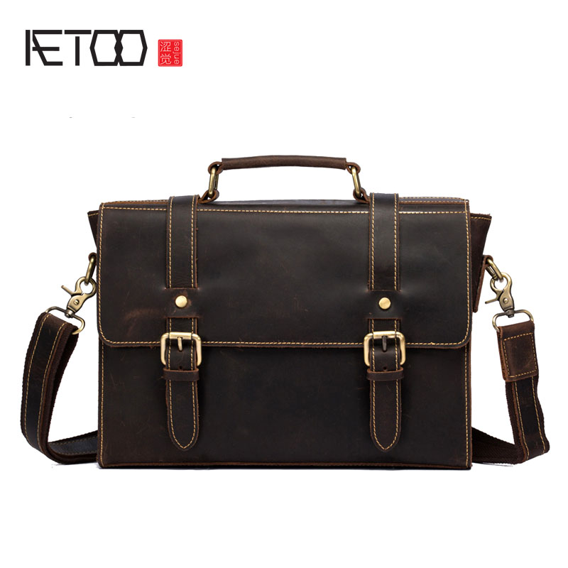 AETOO Crazy horse leather men bag cross-section handbag retro leather shoulder Messenger bag business briefcase trumpet цена