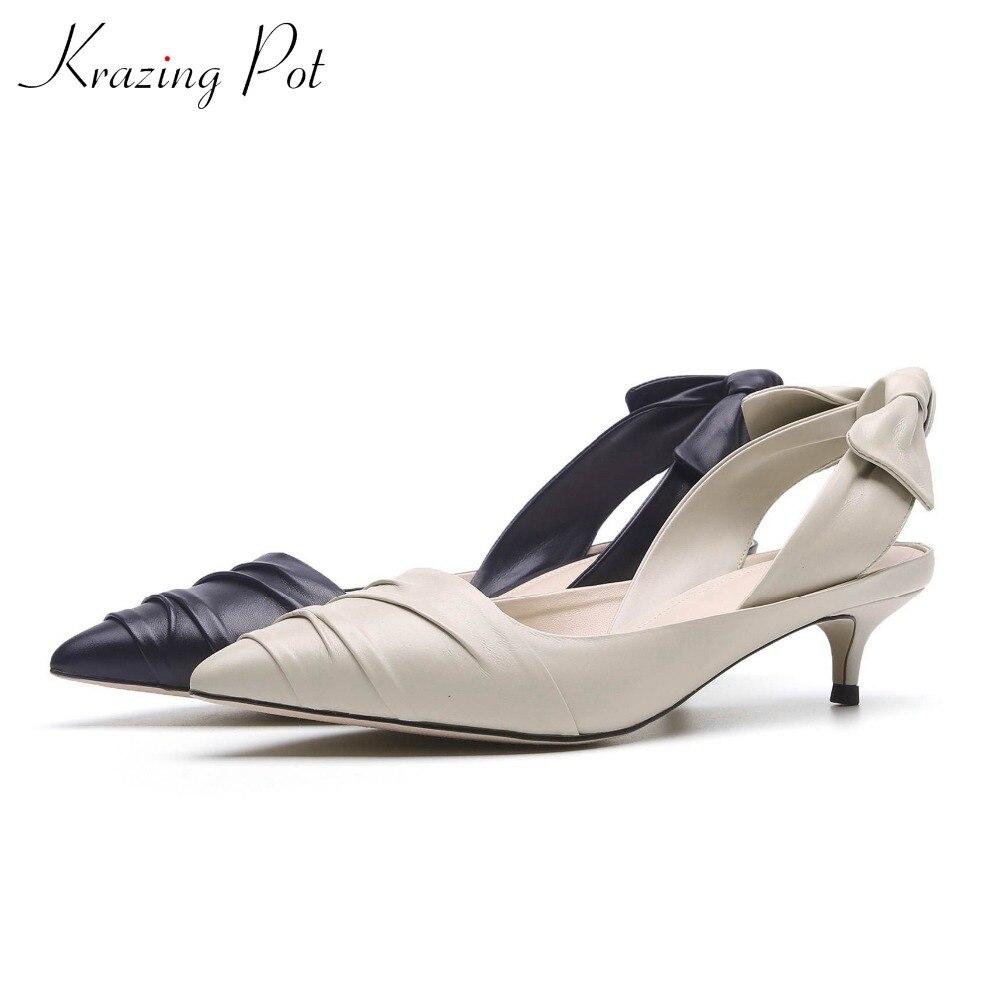 Krazing pentola consiglia solido colori med talloni bassi pompe scarpe a punta torna bowtie superficiale European brand stile strano scarpe L03-in Pumps da donna da Scarpe su  Gruppo 1