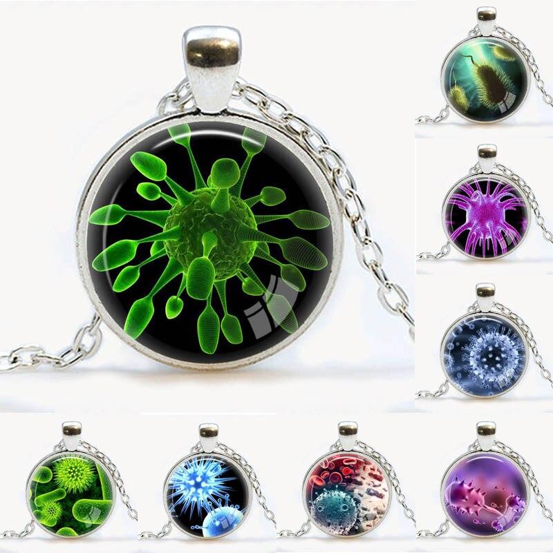 ᑎ‰Virus Pendant Virology jewelry √ Virus Virus necklace Microbe biology pendant science ₩ gift