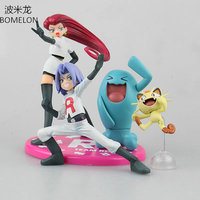 Team Rocket Jesse Wobbuffet James Meowth Aciton Figures Pocket Monster Toys Model Vinyl Doll Kids Boys