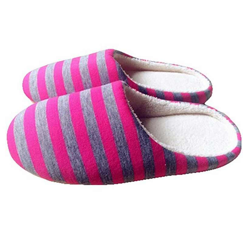 05e60ef2c31 SHUJIN Women Slipper Striped Soft Bottom Home Slippers Warm Cotton Shoes  Indoor Couple slippers men non