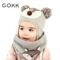COKK Children Winter Hat Scarf Set Hats For Girls Boys Baby Keep Warm Cute Animal Fox