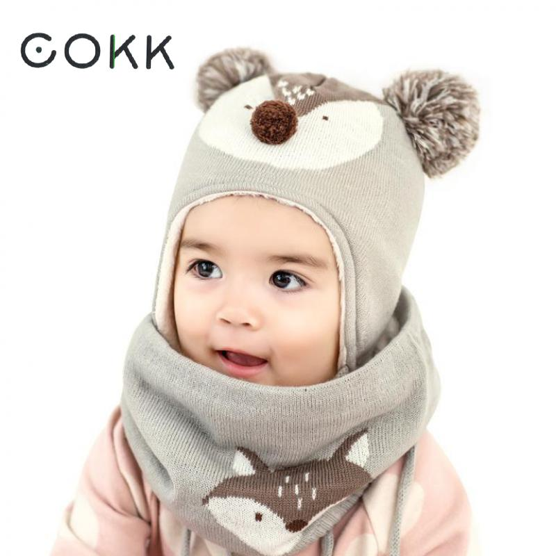 COKK Children Winter Hat Scarf Set Hats For Girls Boys Baby Keep Warm Cute Animal Fox Thick Scarf Wrap Ear Cap Two Piece Child