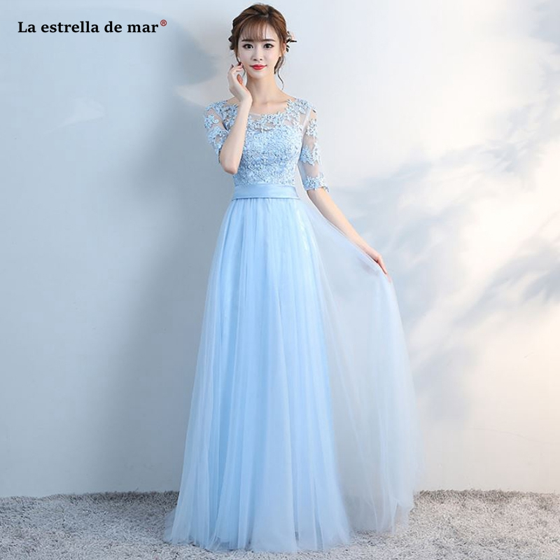 Wedding guest   dress   hot Scoop neck tulle half sleeve A Line light blue   bridesmaid     dress   long vestido madrinha cheap