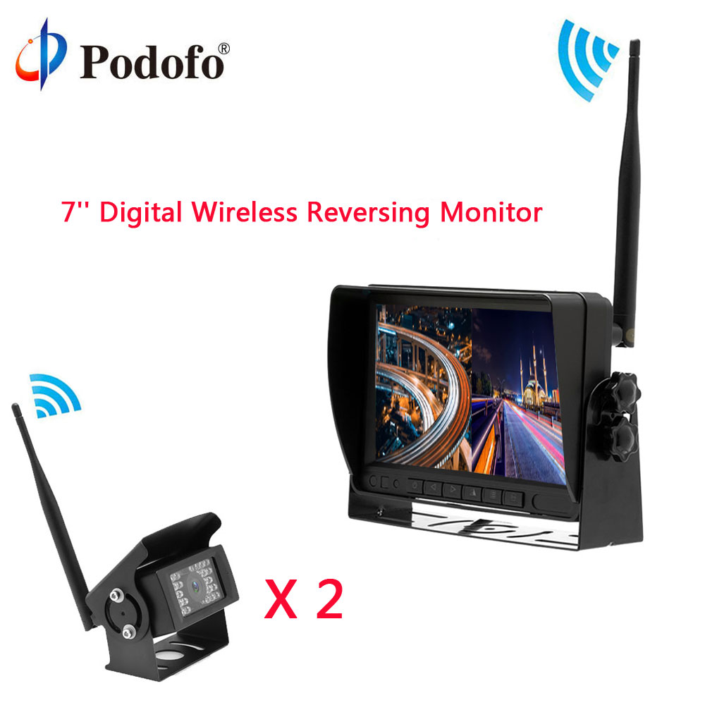 Podofo Car Rear View Reversing monitor Digital Wireless Waterproof IR Backup Cameras Split Screen for Truck/Bus/Caravan/Trailers