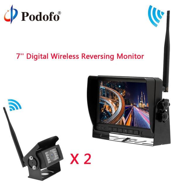 Podofo Car Rear View Reversing monitor Digital Wireless Waterproof IR Backup Cameras Split Screen for Truck/Bus/Caravan/Trailers