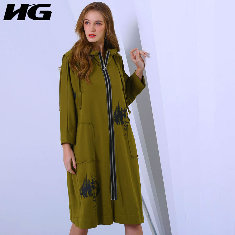 [HG] Long Women Korea Fashion New 2019 Spring Wide-waisted Hooded Collar Full Sleeve Print Pattern Casual Pocket   Trench   DLL2109