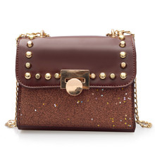 Luxury Mini Crossbody Bags for Women Bling PU Leather Solid Chain Shoulder Chic Lock Fashion Ladies