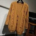 2015 новый горячий продажа женская осень-зима Колледж Ветер длинный отрезок свитер пальто женщин свободные V-образным Вырезом вязать кардиганы куртки