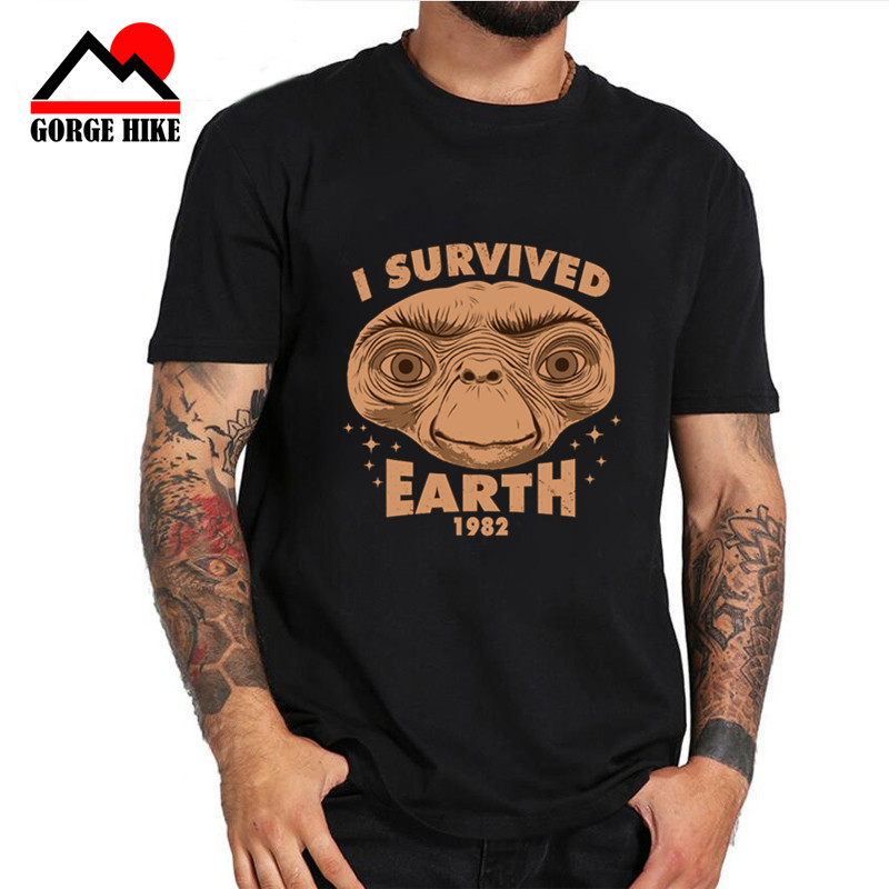2019 Streetwear Tshirts I Survived Earth E.T Extraterrestrial Culture Spielberg Ufo T Shirt Aliens 80's Meme Yoda Men's T-shirt