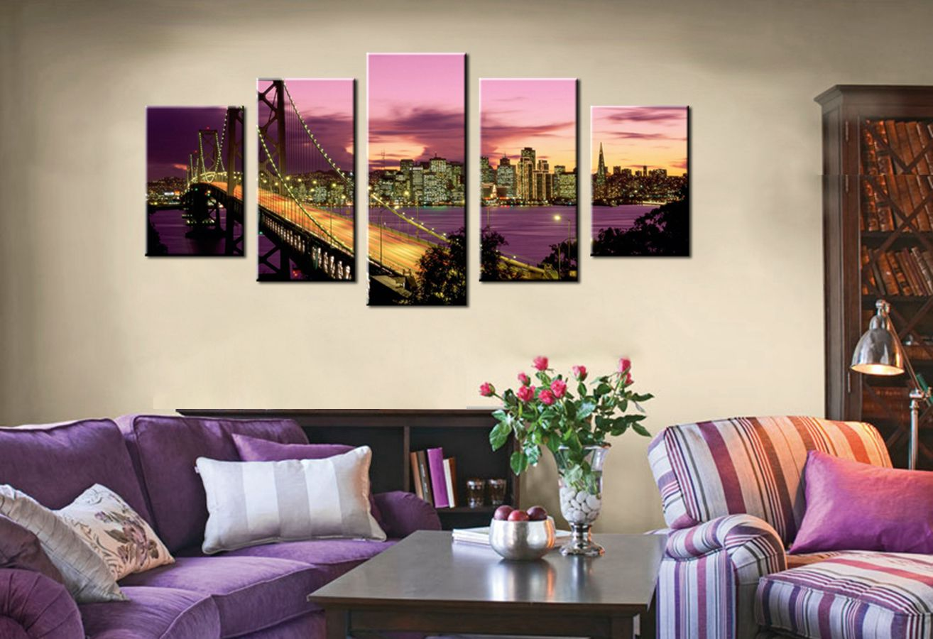 Purple Sunset Dusk Golden Gate Bridge Beautiful Landscape Scene