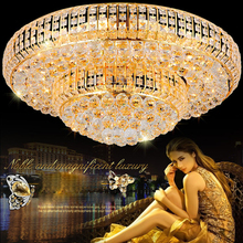 LED Modern Crystal Ceiling Light Gold Round Lamp Golden Lights Fixture Hotel Lobby Home Indoor Lighting