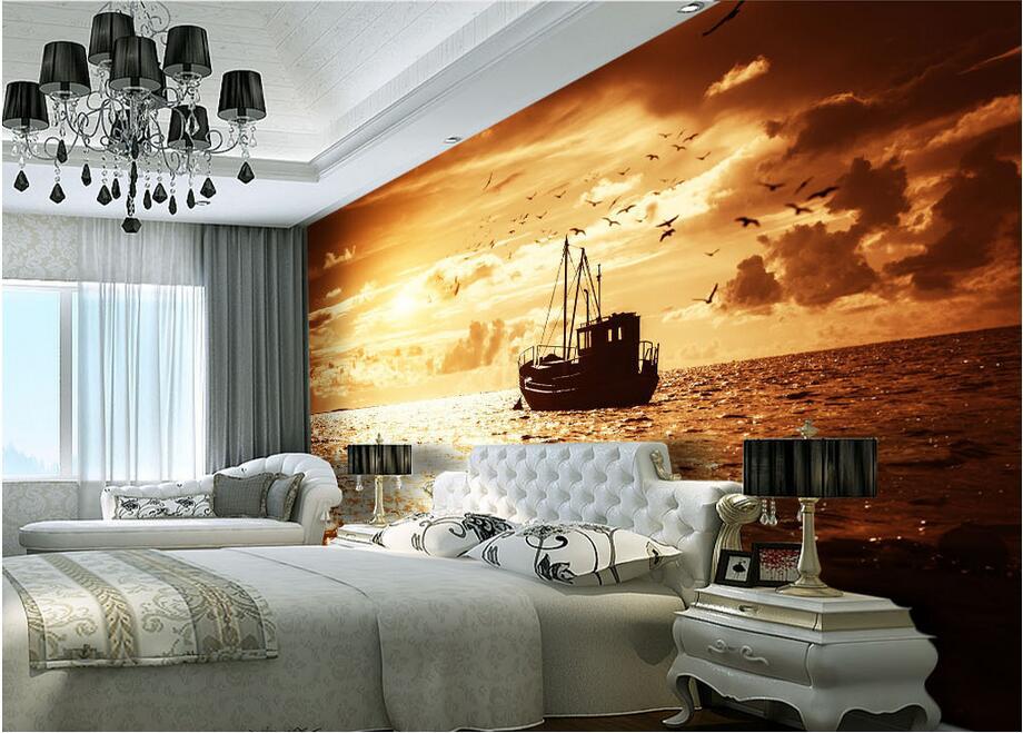 3d wallpaper custom photo non woven setting sun fishing boats 3d
