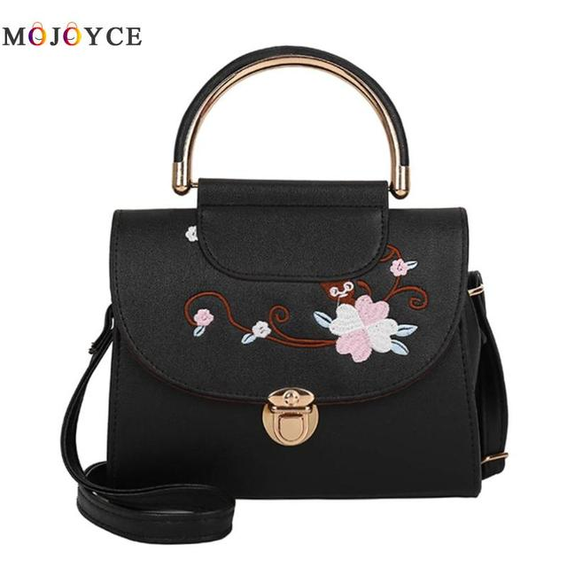 Women Flowers Embroidery PU Leather Top-Handle Bags Lady Sling Shoulder Messenger Bags Female Handbag