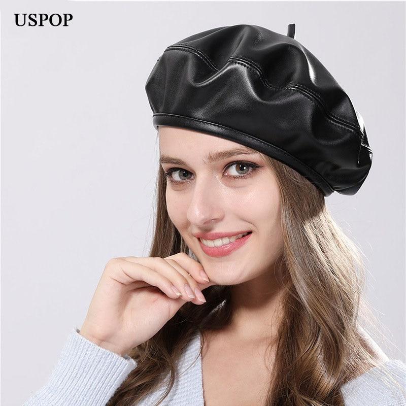 bb862c61f6c71 USPOP 2018 Autumn Newest Fashion women beret female PU leather beret hat  women men casual solid