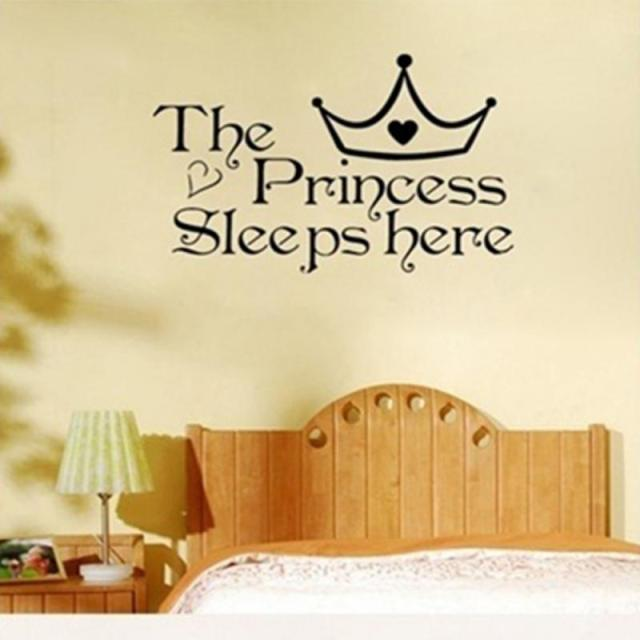 The Princess wall stickers sleeps here home decoration bedroom ...