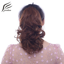 jeedou Wavy Short Hair Ponytail Extensions 40cm 100g Ribbon Clip in Hair Synthetic Black Dark Brown Mix Naturl Color Ponytails 16 inches originalfake kaws clean slate with baby brown color in original box 40cm h
