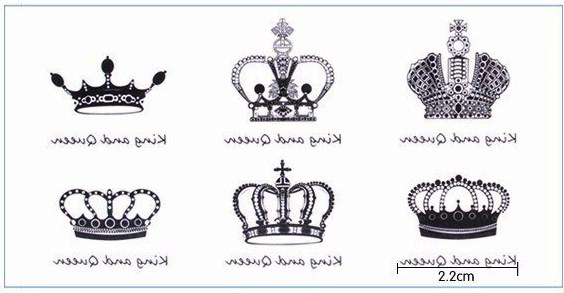 Waterproof Temporary Tattoo Sticker 6 Kinds Of  Crown Tatto Stickers Flash Tatoo Fake Tattoos For Girl Women Small Size