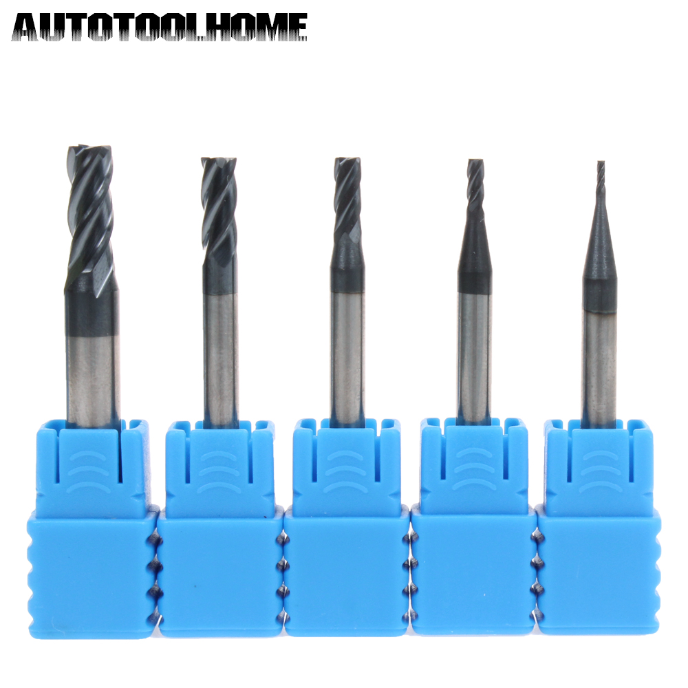 1PC 4F 1 2 3 4 5mm Carbide Tips End Mill Bits Straight Shank Tungsten Steel Milling Cutter for Steel Wood CNC Machine HRC45 55 5pcs 4f d8 75l hrc60 carbide tips end mill bits straight shank tungsten steel milling cutter for steel 4 flute cnc high speed