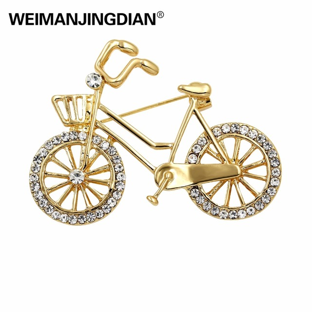 WEIMANJINGDIAN Brand Crystal Rhinestones Bicycle Brooch Pins for Women Garment Accessories in Gold Color Plated