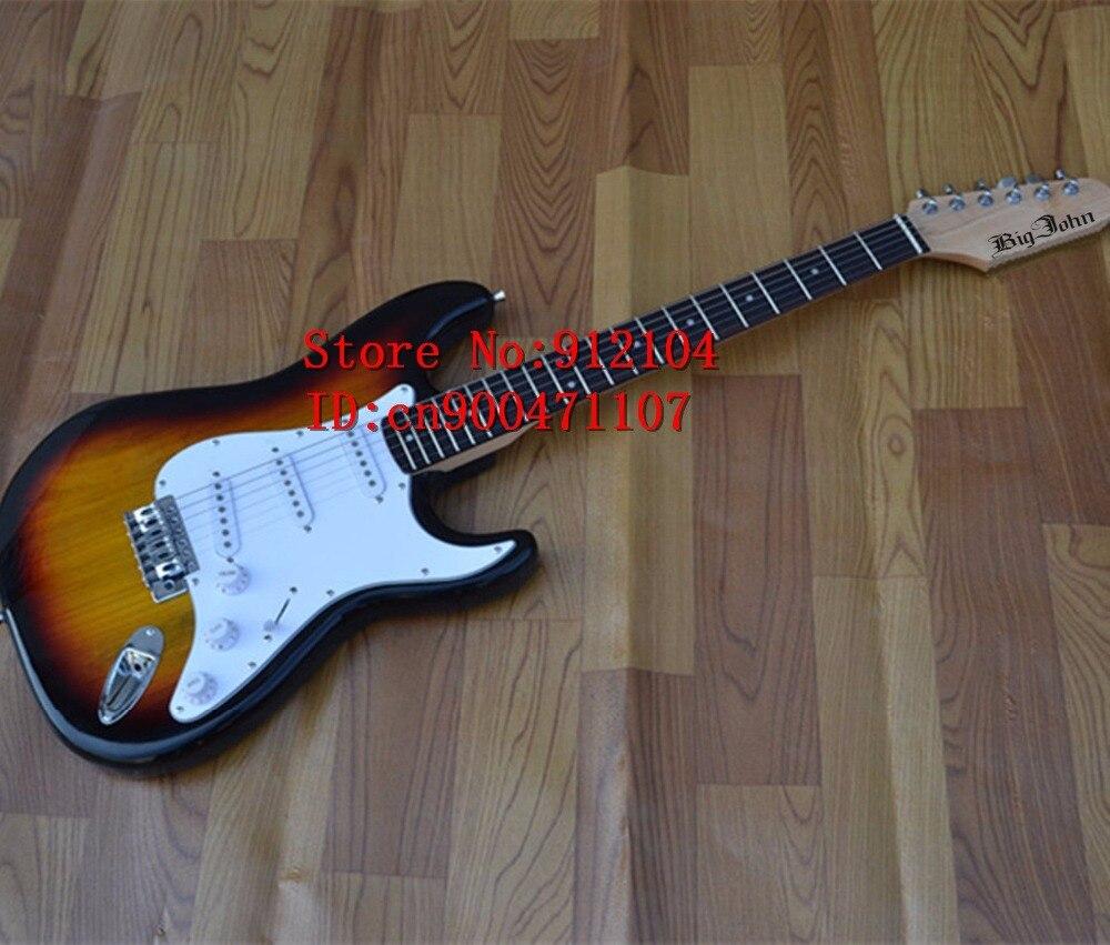 Nouvelle guitare électrique à onde unique Big John en sunburst avec corps en bois de paulownia fortune fabriqué en chine F-1037